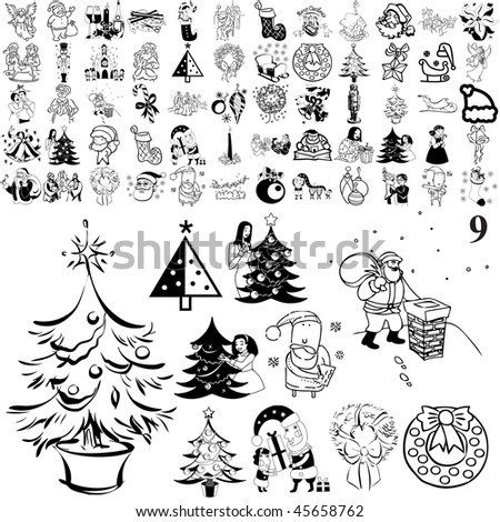 Christmas set of black sketch. Part 104-9. Isolated groups and layers.