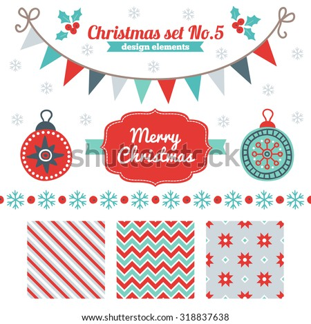 Christmas set of design elements - seamless patterns, label, border, snowflakes, garland, balls. Perfect for winter wallpaper, gift paper, textile, Christmas and New Year greeting cards - stock vector