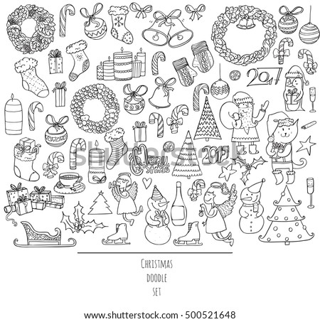 Christmas set of hand drawn doodles in simple graphic style. Vector black and white illustration with accessories as christmas, decoration, santa and more. Black outline on white