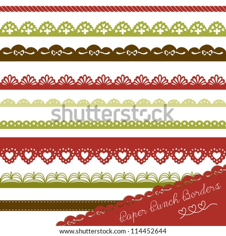 Christmas Set of hand-drawn Lace Paper Punch Borders - stock vector