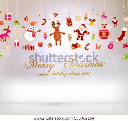 Christmas set of icons and elements, blurred snowflakes, vector - stock vector