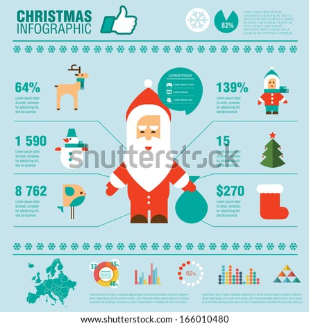 Christmas set of infographics elements, icons and map of Europe. Flat modern design. Vector EPS10. Merry  Christmas and Happy New Year! - stock vector