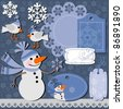 Christmas set of labels and backgrounds for scrapbook - stock vector