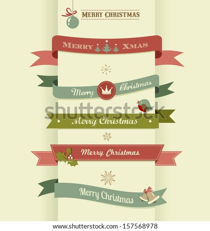 Christmas set of ribbons, emblems and elements - stock vector