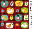 Christmas set, plaid tartan pattern background, wrapping paper - stock vector