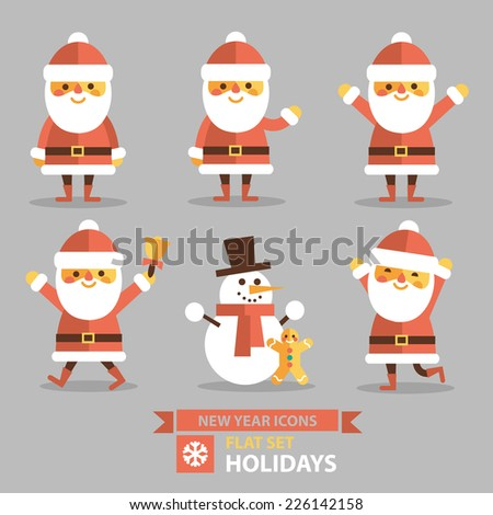Christmas set - Santa Claus and other characters, different poses and different emotions. Vector illustration in flat style. - stock vector