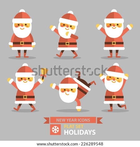 Christmas set - Santa Claus, different poses and different emotions. Vector illustration in flat style. - stock vector
