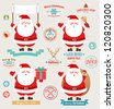 Christmas set - Santa Claus, emblems and other decorative elements. Vector illustration. - stock