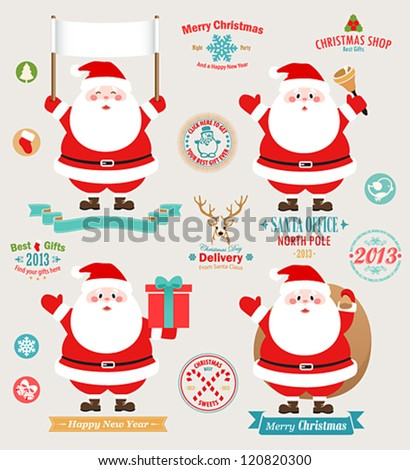 Christmas set - Santa Claus, emblems and other decorative elements. Vector illustration.