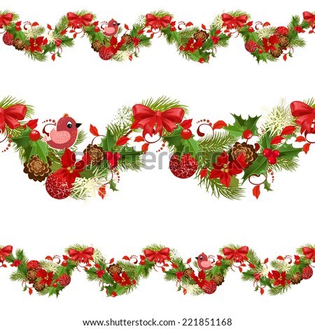 christmas set seamless borders for your design - stock vector
