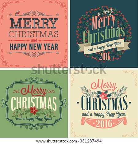 Christmas set - typographic cards for your design. - stock vector