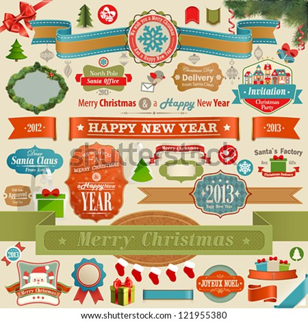 Christmas set - vintage ribbons - stock vector