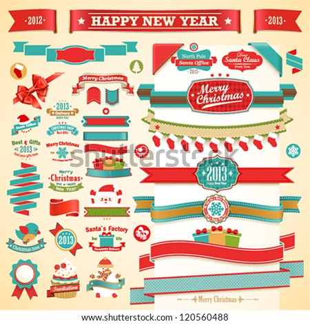 Christmas set - vintage ribbons, labels and other decorative elements. Vector illustration. - stock vector