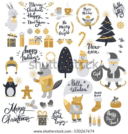 Christmas set with cartoon New Year characters. Collection of xmas elements for greeting card design in silver and golden colors. Forest animals, mottos, winter holiday objects in retro style. Vector