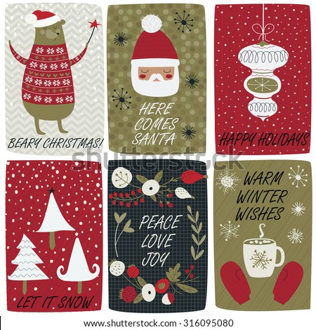Christmas set with cute funny bear, santa, christmas trees, christmas tree decorations, winter floral wreath, mug with hot chocolate and mittens in cartoon style. - stock vector
