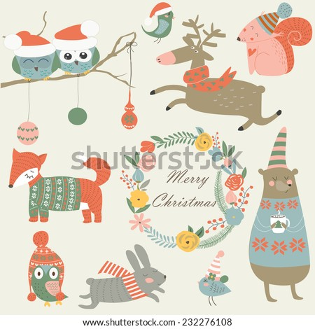 Christmas set with forest animals in cartoon style. Cute owl, birds, running reindeer, bear, hare, fox, squirrel and flowers. - stock vector