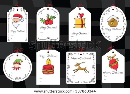 Christmas set with gift tags - stock vector