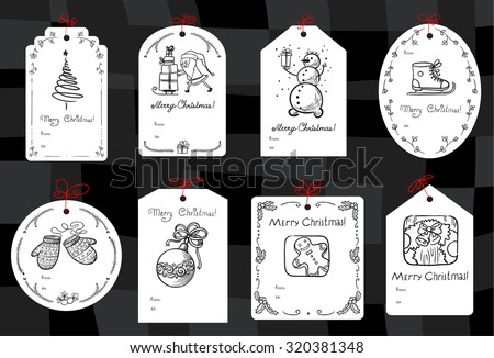 Christmas set with minimalistic black and white gift tags - stock vector