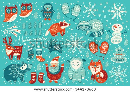 Christmas set with santa claus, happy yeti, lovely deer, tree, funny snowman, badger, raccoon, two owls, cute fox, socks and mittens. Vector illustration - stock vector