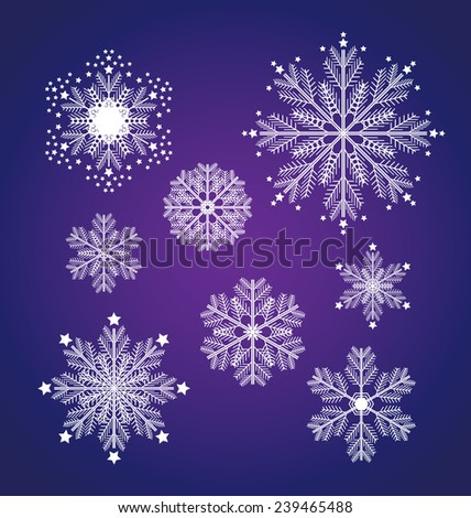 Christmas set with snowflakes. Christmas decorations isolated on white background. Vector holiday illustration, happiness concept. Web and mobile interface template. Editable.  - stock vector