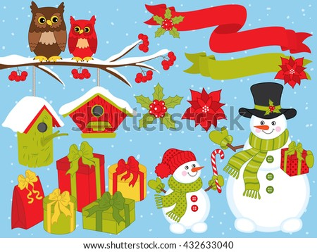 Christmas Set with Snowmen & Owls  - stock vector