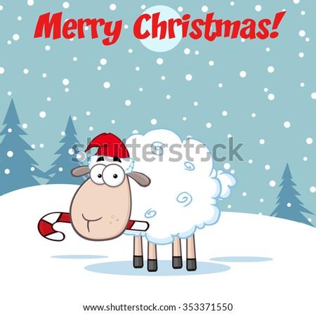 Christmas Sheep Cartoon Character. Vector Illustration Greeting Card - stock vector