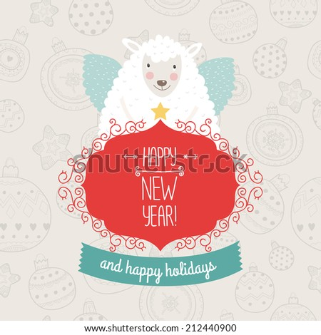Christmas sheep with greeting label and ribbon - stock vector