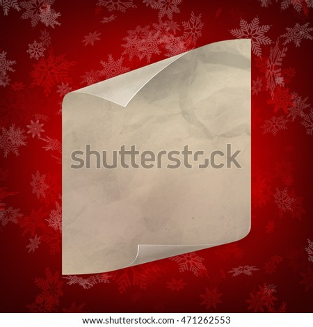 Christmas sheet of curved paper on red snowflakes background. EPS 10 vector file included