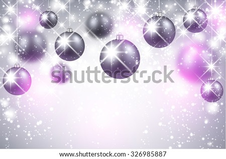 Christmas shining background with balls. Vector Illustration.