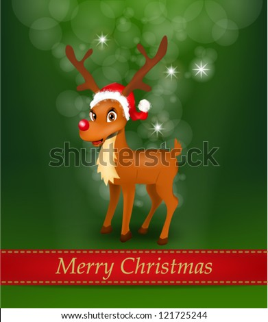 Christmas Shiny Background with Reindeer wearing Santa Claus Hat - stock vector