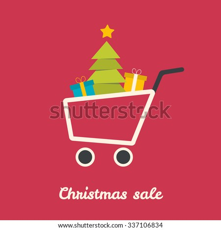 Christmas shoping cart with tree and gifts. Vector illustration. - stock vector