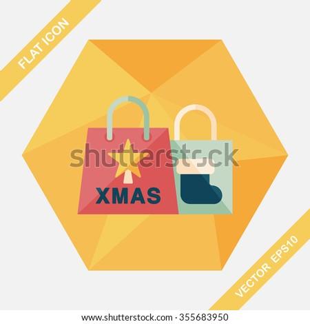 Christmas shopping bag flat icon with long shadow,eps10 - stock vector