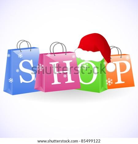 Christmas shopping bags - stock vector