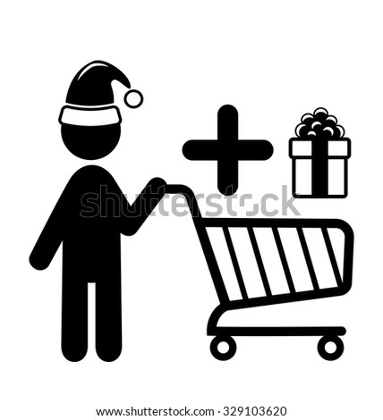 Christmas Shopping Man with Cart and Gift Flat Black Pictogram Icon Isolated on White Background - stock vector