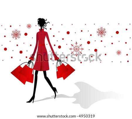 Christmas shopping rush - stock vector