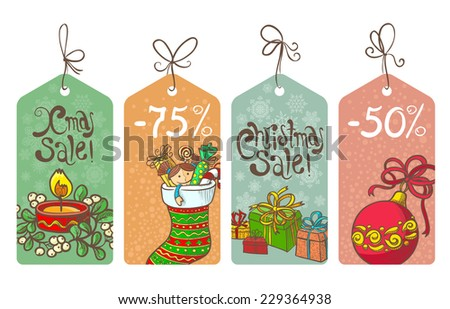 Christmas shopping sale labels set - stock vector