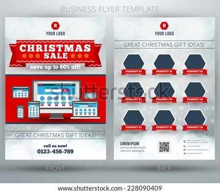 sales brochure template free - christmas shopping sale vector business flyer stock vector