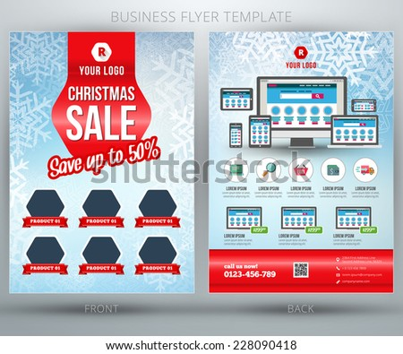 Christmas Shopping Sale Vector Business Flyer or Brochure Template and place for product photo - stock vector