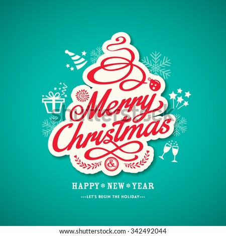 Christmas sign design on green background vector illustration - stock vector