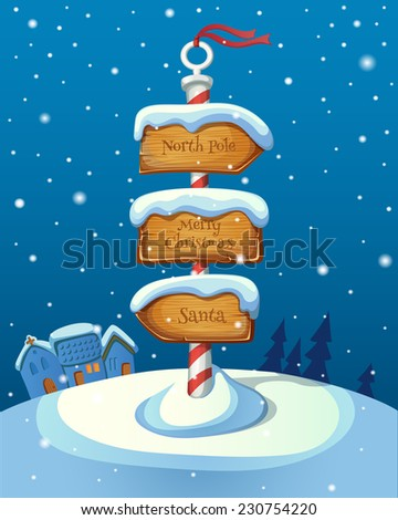 Christmas sign post with three direction boards on winter background. EPS 10. Transparency. Gradients. - stock vector