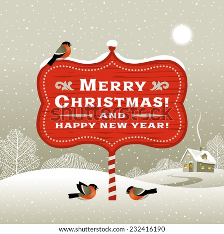 Christmas signboard and winter landscape. Editable vector with clipping mask. - stock vector