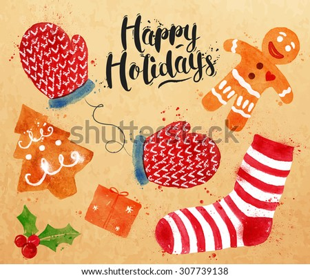 Christmas signs lettering Happy Holidays with cookie, gift, mittens, socks, gingerbread man drawing in vintage style on kraft paper - stock vector