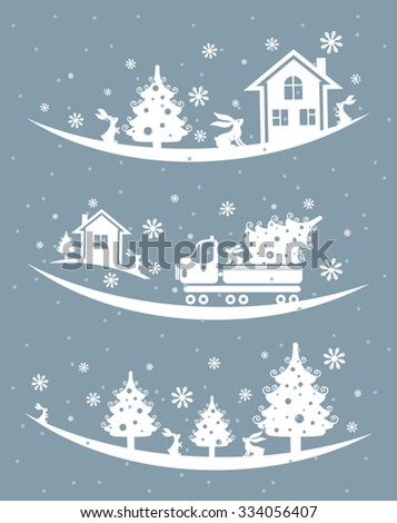 Christmas silhouette illustration.
