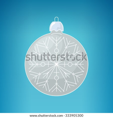 Christmas Silver Ball with Snowflake , Christmas Ball  on a Blue Background ,  Christmas Tree Decoration, Merry Christmas and Happy New Year, Vector Illustration - stock vector