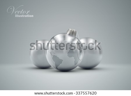 Christmas silver balls. Holiday vector illustration of traditional festive Xmas bauble with global map. Merry Christmas and Happy New Year greeting card design element.  - stock vector