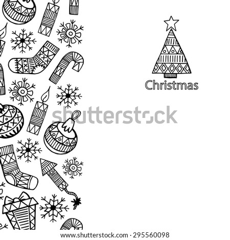 Christmas sketch icons isolation vertical banner vector design illustration. Christmas background.