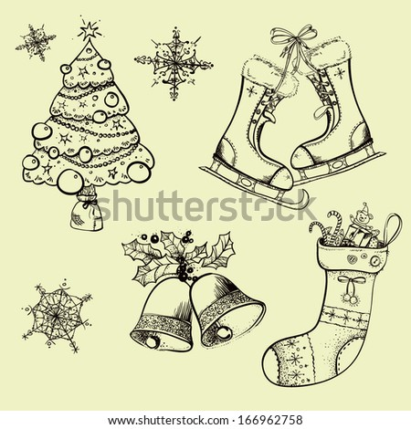 Christmas sketches, retro, sock, tree, bells, skates, black and white