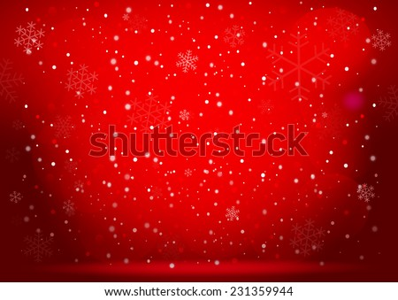 Christmas snow and snowflakes on the red background. Vector EPS10. - stock vector