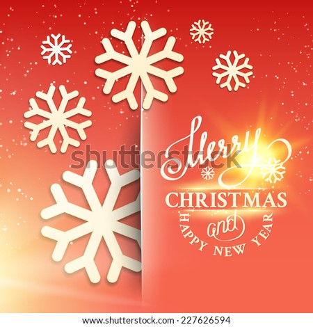 Christmas snow card with glow sparks over gray background. Vector illustration. - stock vector