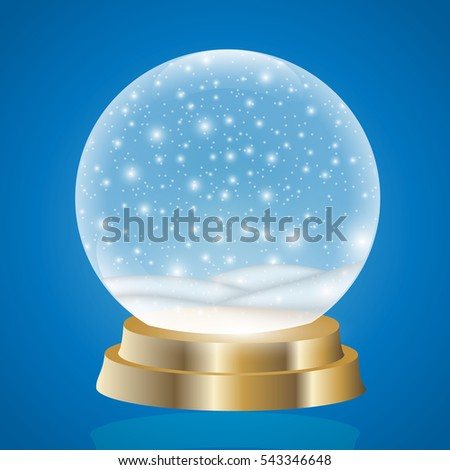 Christmas snow globe isolated vector illustration. Winter in glass ball, crystal dome with snowflake. Magic christmas crystal ball of glass.
